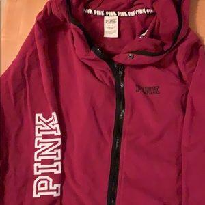 Pink fleece zipper hoodie sweatshirt size M